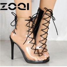 Harga Zoqi 2017 Seksi Pesta Wedding Bridal Shoes Wanita Hitam Tipis Tumit Roman Gladiator Sandal Platform High Heels Sandal Toe Terbuka Hitam Intl Lengkap