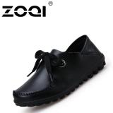 Beli Zoqi Autunm Kulit Sepatu Casual Wanita Fashion Sepatu Datar Black Intl Online Terpercaya