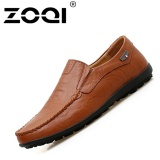 Jual Cepat Zoqi Ukuran Besar Sepatu Mengemudi Slip Ons Loafer Rekreasi Kasual Flat Shoes Coklat