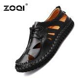 Toko Jual Zoqi Fashion Hollow Kulit Sandal Sepatu Kasual Hitam Intl
