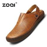 Beli Zoqi Fashion Hollow Kulit Sandal Sepatu Kasual Cokelat Cicil