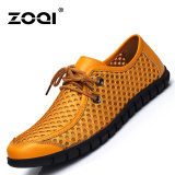 Review Terbaik Zoqi Man Slip Ons Loafer Sapi Asli Top Leather Net Sepatu Kuning Intl