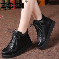 ZOQI Martin Boots Musim Gugur And Musim Dingin Kulit Flat Boots (Hitam)