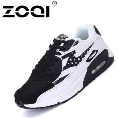 Spesifikasi Zoqi Pria Fashion Sneaker Air Cushion Casual Putih Hitam Intl Dan Harga