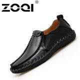 Beli Zoqi Pria Slip Ons Loafer Handmade Kulit Mengemudi Sepatu Hitam Intl Online