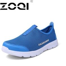 Beli Zoqi Pria Fashion Slip Ons Berlari Sepatu Olahraga Sepatu Biru Cicil