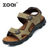 Jual Zoqi Summer Man S Flat Sandal Kulit Asli Sepatu Pantai Slide Brown Intl Murah