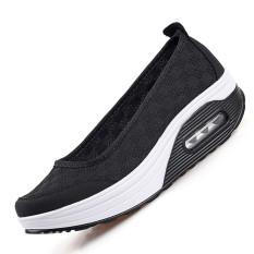 Jual Zoqi Busana Wanita Musim Panas Datar Slip Ons Sepatu Kasual Yang Nyaman Untuk Sulit Bernapas Hitam Satu Set