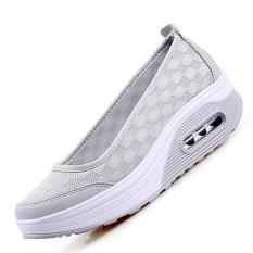 ZOQI Busana Wanita Musim Panas Datar Slip-ons Sepatu Kasual Yang Nyaman untuk Hardly Breathe (Abu-abu).