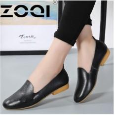 ZOQI Musim Panas Wanita Oxford Shoes Ballerina Flats Sepatu Wanita Kulit Sepatu Moccasins Lady Balet Loafers Dangkal Sepatu (Hitam) -Intl