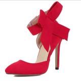 Zoqi Fashion Wanita Tumit Pompa Bow Knot Terutama Sepatu Merah Intl Promo Beli 1 Gratis 1