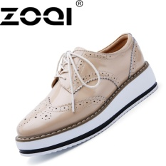 Spesifikasi Zoqi Wanita Platform Sepatu Wedges Fashion High Heels Sepatu Elevator Shoe Beige Murah
