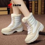 Penawaran Istimewa Zoro Pendatang Baru 2017 Wanita Boots Mid Calf Hangat Plush Women Musim Dingin Sepatu Platform Salju Boots Beige Terbaru