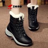 Zoro Pendatang Baru 2017 Wanita Boots Mid Calf Hangat Plush Women Musim Dingin Sepatu Platform Salju Boots Hitam Intl Asli