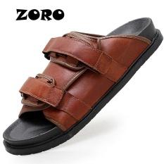 Jual Zoro Baru Pria Kulit Asli Pantai Sepatu Sandal Musim Panas Air Lembut Sandals Brown Intl Online