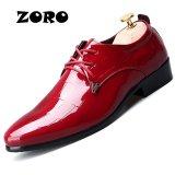 Ulasan Lengkap Zoro Paten Kulit Pria Bisnis Sepatu Ujung Runcing Pria Oxfords Lace Up Pria Pernikahan Berenda Merah Intl
