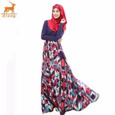 Zrong 2017 Fashion Women Muslim Slim Elegant Skirt Floor-Length Patchwork Floral Pattern Abaya Jubah Dress (Dark Blue)