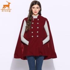 Zrong Casual Wanita Berdiri Kerah Double Breasted Kantong Solid Jubah Mantel Outdoor Mantel (Merah Anggur)-Intl