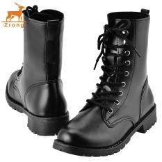Zrong Fashion Wanita's Cool Black PUNK Tentara Militer Knight Lace-UP Sepatu Boot Pendek (Hitam) -Intl