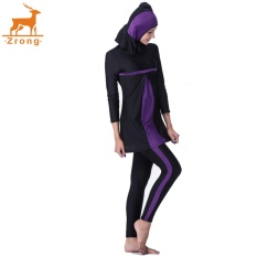 Zrong Hot Jual Muslim Women's Three-Piece Swimwear Lengan Panjang Baru Konservatif Swimsuit Beachwear (Ungu) -Intl