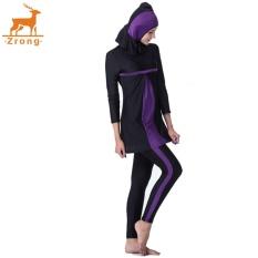 Zrong Seksi Jual Muslim Wanita Tiga Potong Baju Renang Lengan Panjang Baru Konservatif Baju Renang Beachwear (Ungu) -Internasional