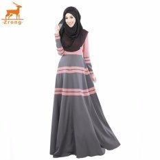 Zrong Summer Women Muslim A-line Elegant Abaya Jubah Dress Stripe Patchwork Muslimah Wear (Pink)
