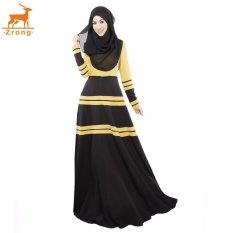 Zrong Musim Panas Wanita Muslim A-line Elegan Abaya Jubah Dress Stripe Patchwork Muslimah Memakai (Kuning)-Intl