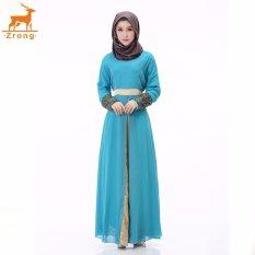 Zrong Wanita untuk Wanita Muslim Double Layer Chiffon Long Lle O-Neck Patchwork Bordir Muslimah Jubah Dress (Biru) -Intl
