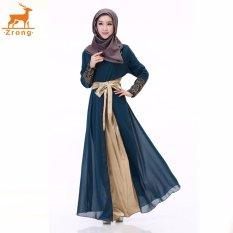 Zrong Wanita untuk Wanita Muslim Double Layer Chiffon Long Lle O-Neck Patchwork Bordir Muslimah Jubah Dress (Dark Blue) -Intl