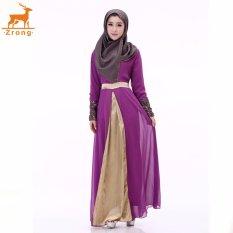 Zrong Woman's Muslim Wear Double layer Chiffon Long Sleeve O-Neck Patchwork Embroidery Muslimah Jubah Dress (Purple)