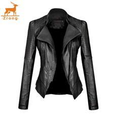Ulasan Tentang Zrong Fashion Wanita Lengan Panjang Tipis Pas Zip Up Pengendara Sepeda Motor Jaket Kulit Imitasi Hitam International