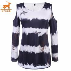 Zrong Wanita Susu Kain Sutra Dingin Bahu Lengan Panjang Gradient Cetak Lepas Longgar T-Shirt (Hitam)-Intl