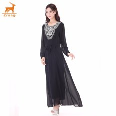 Zrong Wanita untuk Wanita Muslim Klasik Bordir Long Muslimah Jubah Dress (Hitam)-Intl