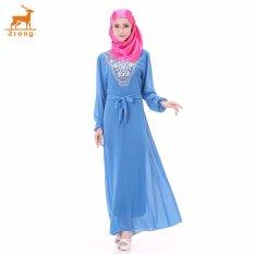Zrong Wanita untuk Wanita Muslim Klasik Bordir Long Muslimah Jubah Dress (Biru)-Intl
