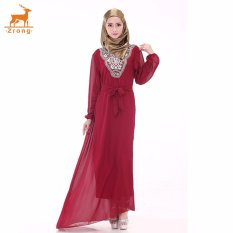 Zrong Wanita untuk Wanita Muslim Klasik Bordir Long Muslimah Jubah Dress (Merah)-Intl