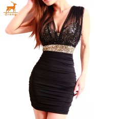 Zrong Wanita Seksi Sequins Deep V Leher Elegan Tanpa Lengan Mesh Pesta Cocktail Short Mini Dress (Hitam)-Intl