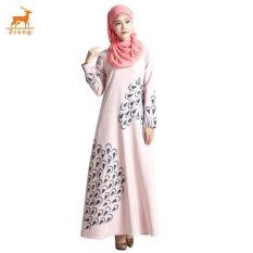 Zrong Women's Long Sleeve Muslim Wear O-Neck Feather Printed Islamic Muslim Abaya Elegant Maxi Dress (Pink)