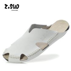 Z. Suo Laki-laki Korea Modis Gaya Baotou Model Crocs Dingin Sendal Kulit Sendal (ZS605 Putih)