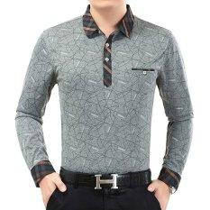 Beli Zuncle Pria Lengan Panjang Longgar Bisnis Kapas Kerah Polo Shirt Grey Murah Di Tiongkok