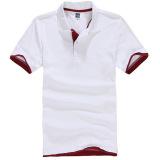 Spesifikasi Zuncle Polo Pria Kemeja Lengan Bang Pendek Kemeja Golf Tenis Putih Merah Online