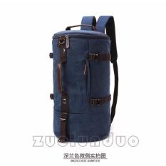 Jual Zuo Lun Duo Tas Ransel Tabung Tas Selempang Kanvas Tas Tenteng Multifungsi Biru Tua Lengkap