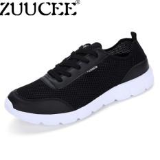 Zuucee Fashion Pecinta Sepatu Olahraga Pria Bernapas Sepatu Lari Wanita Sepatu Ringan (Hitam) 【