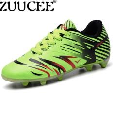Zuucee Modis Pria Sepak Bola Sepatu Kuku Panjang Kasual Luar Ruangan Olahraga Sepatu Non-slip (Merah Fluorescent Hijau) -Internasional