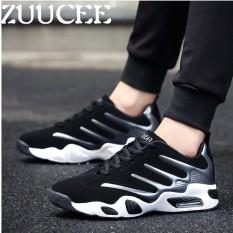 Zuucee Modis Pria Rendah Cangkir Bola Keranjang Sepatu Kasual Olahraga Sneakers Sepatu Bantalan Udara (Abu-abu Hitam)-Internasional