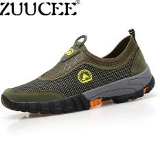 Zuucee Pria Kasual Luar Ruangan Daki Gunung Sepatu Pria Ukuran Besar Sepatu Jaring Bernapas Kain Sepatu Menginjakkan Kaki Sepatu (Hijau) -Internasional