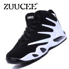 Harga Zuucee Pria Musim Dingin Tinggi Top Sepatu Bola Basket Causion Olahraga Sneakers Putih Hitam Intl Original