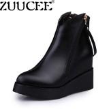 Beli Zuucee Women British Martin Boots Padat Slip Wedges Sepatu Highten Pendek Boots Hitam Intl Zuucee Asli