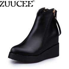 Cara Beli Zuucee Women British Martin Boots Padat Slip Wedges Sepatu Highten Pendek Boots Hitam Intl