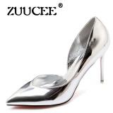 Jual Zuucee Wanita Sepatu High Heels Gaun Sepatu Pesta Wanita Lace Up Pompa Wanita Mary Janes Sepatu Silver Murah Tiongkok