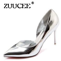 Zuucee Wanita Sepatu High Heels Gaun Sepatu Pesta Wanita Lace Up Pompa Wanita Mary Janes Sepatu Silver Tiongkok Diskon